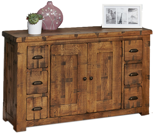 Baumhaus CRS02B Heyford Rough Sawn Oak Six Drawer Sideboard