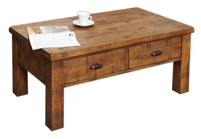 baumhaus crs08d heyford rough sawn oak four drawer coffee table