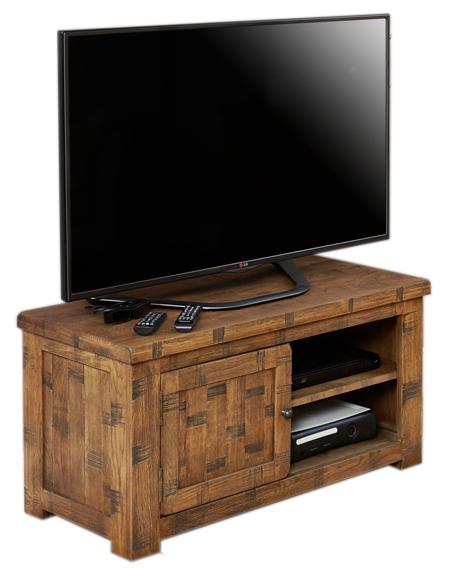 BaumhausCRS09A Heyford Rough Sawn Oak One Door Television Cabinet