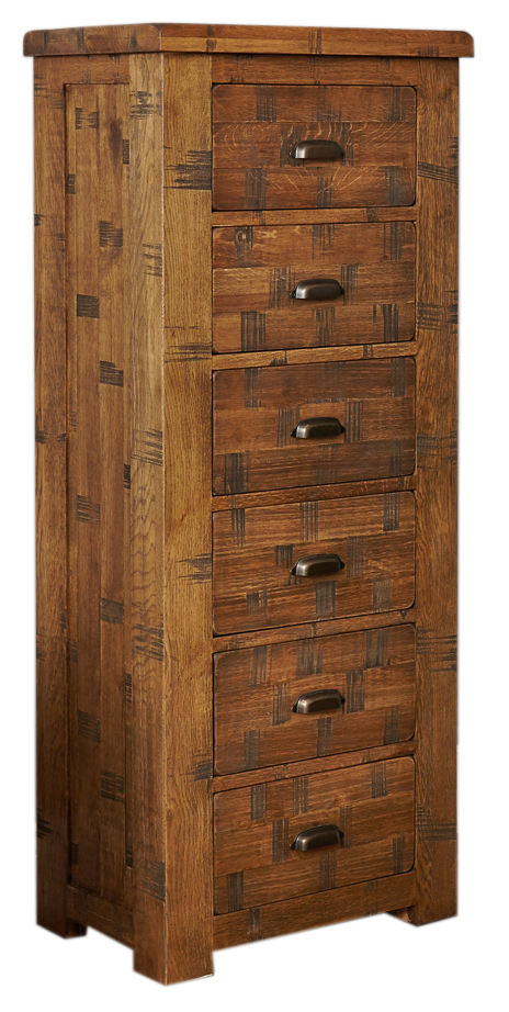 Baumhaus CRS12A Heyford Rough Sawn Oak Tallboy Chest of Drawers (6 Drawer)