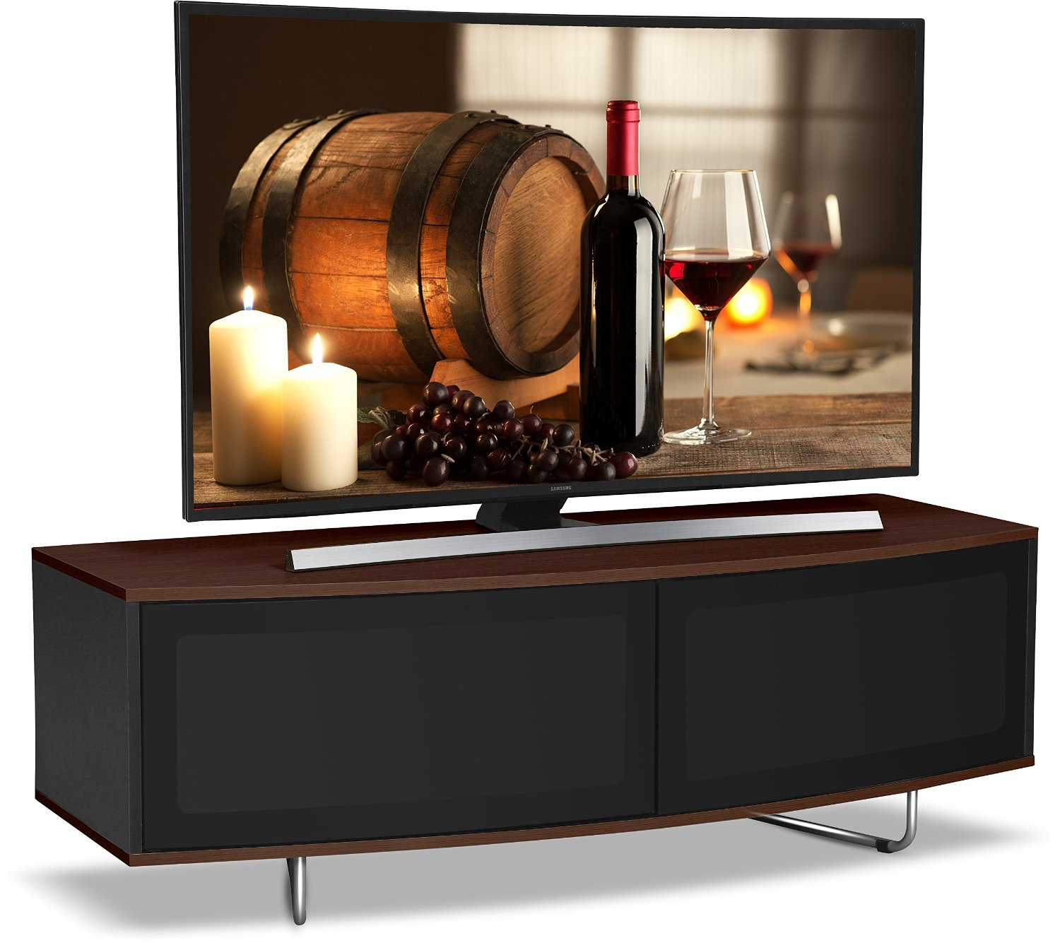 "Centurion Supports CARU WALNUT Black & Walnut Beam-Thru Remote Friendly 32""-65"" TV Stand"