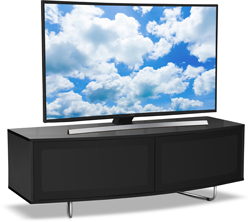 "Centurion Supports CARU BLACK Gloss Black Beam-Thru Remote Friendly 32""-65"" TV Stand"