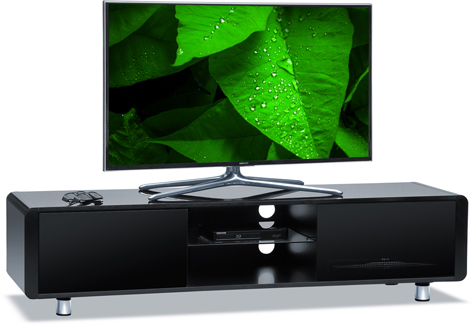 "Centurion Supports CAPRI Gloss Black with Black Sides Beam-Thru Remote Friendly 32""-65"" Flat Screen TV Cabinet"