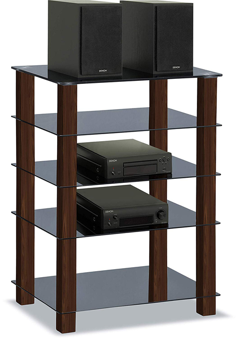 Centurion Supports TRINITY Gloss Black 5 Shelf with Walnut Legs Flat Screen TV Rack Glass Stand