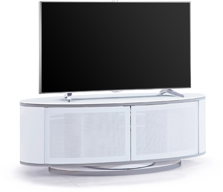 "MDA Designs LUNA Gloss White Oval Cabinet with White Profiles White BeamThru Glass Doors 52"" TV Cabinet"