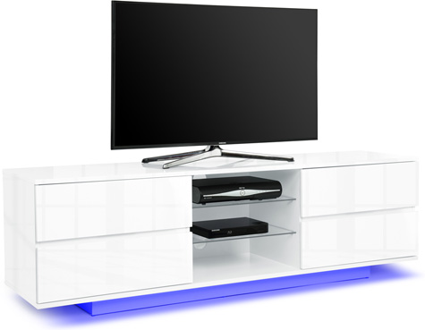 "Centurion Avitus White 4-Drawers 32""-65"" TV Stand LED Lights"