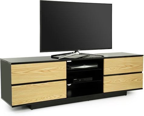"Centurion Avitus Gloss Black 4-Oak Drawers 32""-65"" TV Stand"