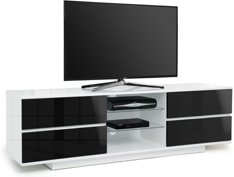 "Centurion Avitus Gloss White 4-Black Drawers 32""-65"" TV Stand"