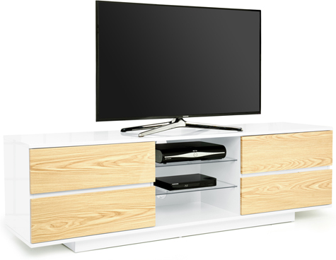 "Centurion Avitus Gloss White 4-Oak Drawers 32""-65"" TV Stand"