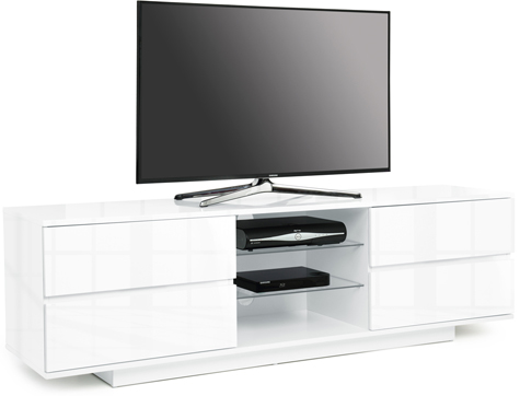 "Centurion Avitus Gloss White 4-White Drawers 32""-65"" TV Stand - FULLY ASSEMBLED"