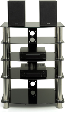 "Centurion Supports Galago Black 19""-32 "" Flat Screen /Hi-Fi 5 Tier TV Stand"
