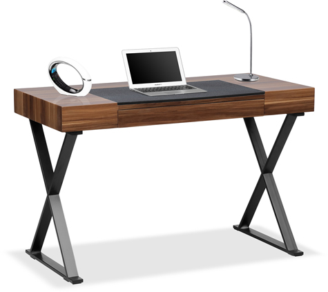 Centurion Supports ADONIS Walnut and Chrome Ergonomic Home Office Luxury Computer Desk
