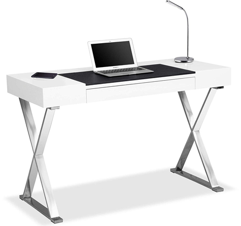 Centurion Supports ADONIS White Ergonomic Home Office Desk with Built-In Wireless Qi Charging