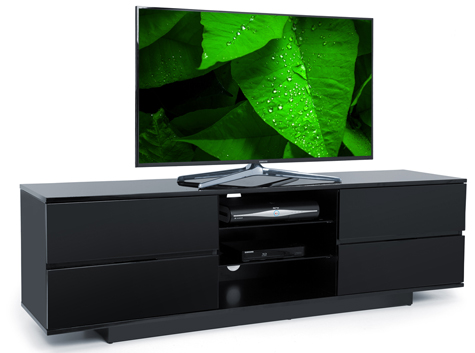 "Centurion Avitus Gloss Black 4-Black Drawers 32""-65"" TV Stand"