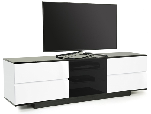 Centurion Supports AVITUS ULTRA INVERTO BWB Remote Friendly Beam-Thru 4-Drawer Gloss White & Black TV Cabinet