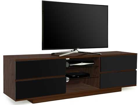"Centurion Avitus Walnut with 4-Black Drawers 26""-65"" TV Stand-As New"