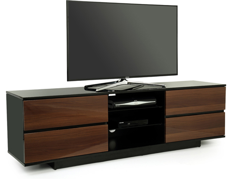"Centurion Avitus Gloss Black 4-Walnut Drawers 32""-65"" TV Stand"