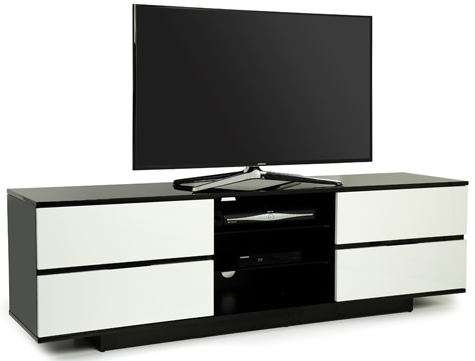 "Centurion Avitus Gloss Black 4-White Drawers 32""-65"" TV Stand"