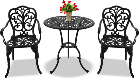 Centurion Supports BANGUI Garden & Patio Table & 2 Chairs Cast Aluminium Bistro Set - Black