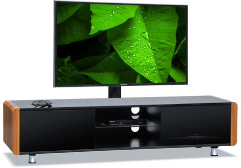 "Centurion Supports CAPRI Gloss Black with Ash Sides Beam-Thru 32""-65"" TV Cabinet with Mounting Bracket"