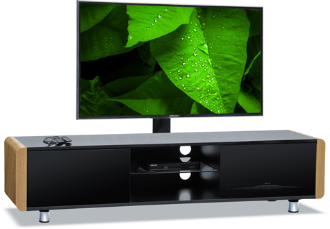 "Centurion Supports CAPRI Gloss Black with Oak Sides Beam-Thru 32""-65"" TV Cabinet with Mounting Bracket"