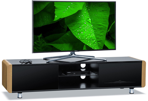 "Centurion Supports CAPRI Gloss Black with Oak Side Beam-Thru Remote Friendly 32""-65"" Flat Screen TV Cabinet"