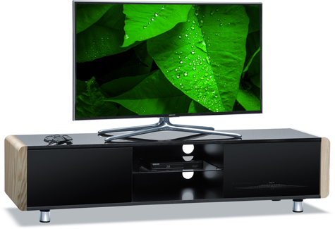 "Centurion Supports CAPRI Gloss Black with White Oak Beam-Thru Remote Friendly 32""-65"" Flat Screen TV Cabinet"