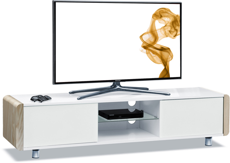 "Centurion Supports CAPRI Gloss White with White Oak Sides Beam-Thru Remote Friendly 32""-65"" Flat TV Cabinet"
