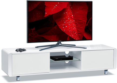 "Centurion Supports CAPRI Gloss White with White Sides Beam-Thru Remote Friendly 32""-65"" Flat Screen TV Cabinet"