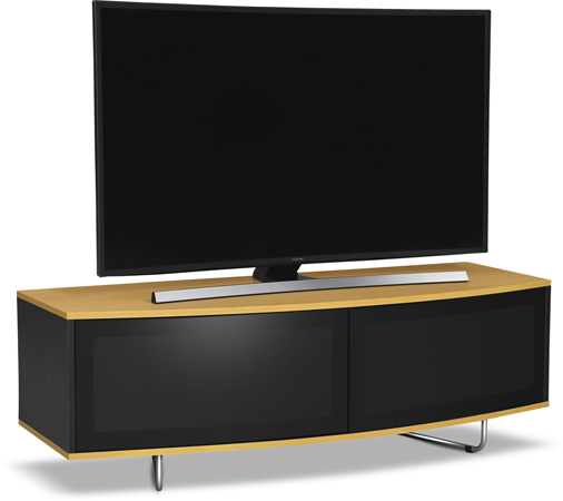 "Centurion Supports CARU OAK Black & Oak Beam-Thru Friendly 32""-65"" TV Stand-As New"