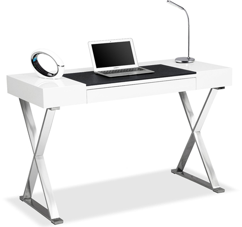 Centurion Supports ADONIS Gloss White and Chrome Ergonomic Home Office Luxury Computer Desk