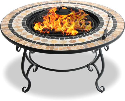 Centurion Supports Fireology BELUGA Garden & Patio Fire Pit, Coffee Table, Barbecue& Ice Bucket - Marble Tiles