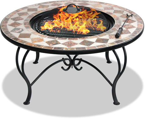 Centurion Supports Fireology KENNOCHA Garden& Patio Fire Pit, Coffee Table, Barbecue& Ice Bucket- Marble Tiles