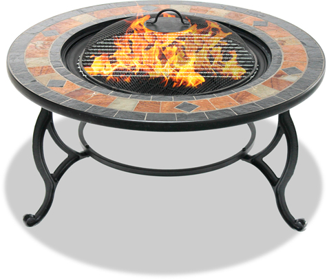 Centurion Supports Fireology LANIAKA Garden & Patio Fire Pit, Coffee Table, Barbecue& Ice Bucket - Slate Tiles