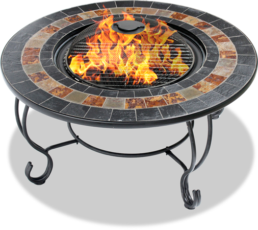Centurion Supports Fireology DAKOTA Garden & Patio Fire Pit, Coffee Table, Barbecue & Ice Bucket - Slate Tiles
