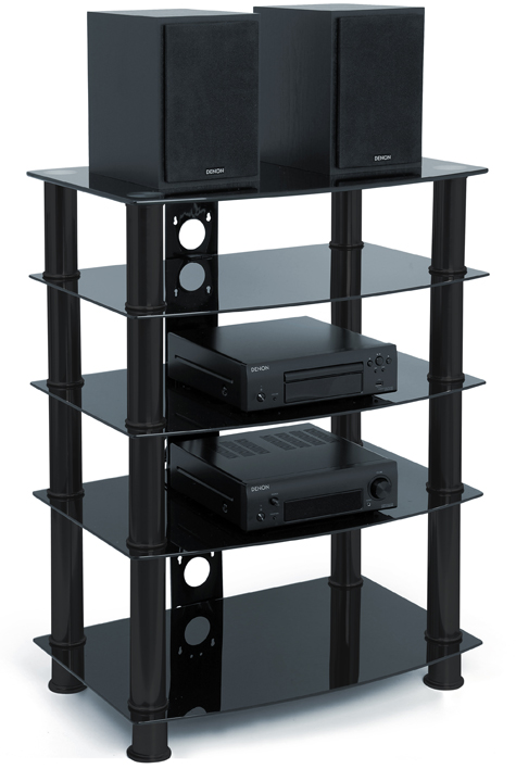 Centurion Supports GALAGO 5-Shelf Premium Gloss Black Glass with Black Legs AV Rack