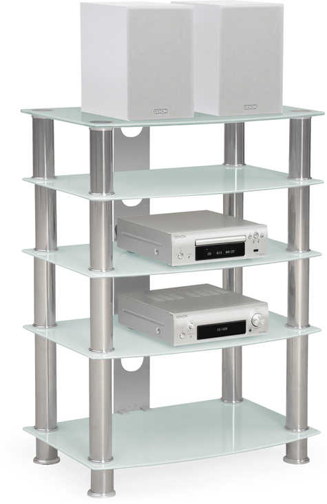 Centurion Supports GALAGO 5-Shelf Premium Opti-White Glass with Silver Legs AV Rack