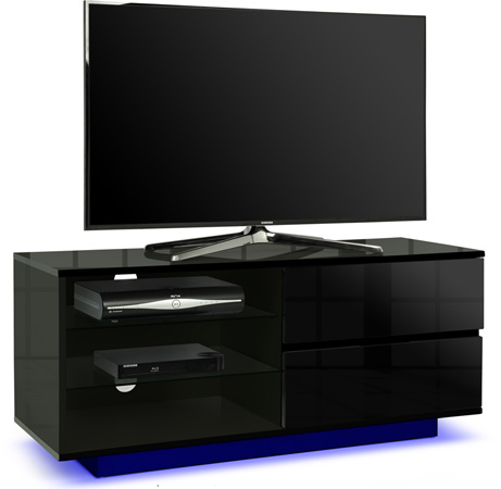 "Centurion Gallus Black 2-Drawers 26""-55"" TV Stand LED Lights"