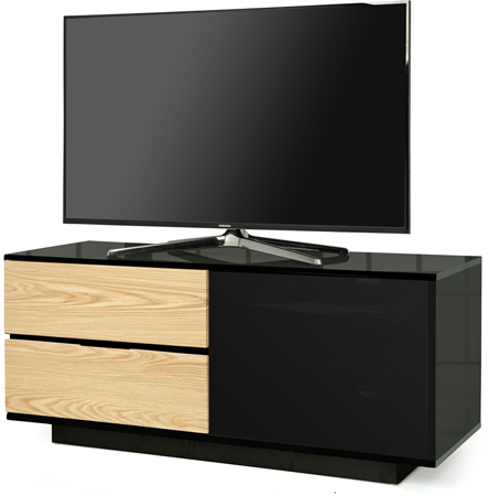 Centurion Supports Gallus Ultra Black with 2-Oak Drawers Stand