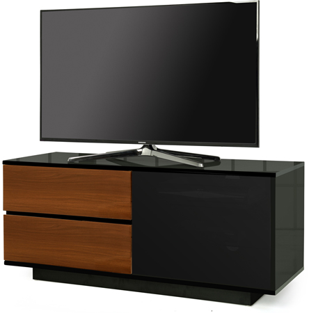 Centurion Supports Gallus Ultra Black with 2-Walnut Drawer Stand