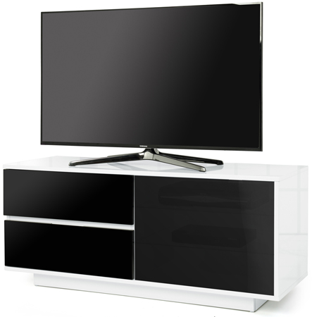 Centurion Supports Gallus Ultra White with 2-Black Drawers Stand