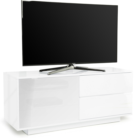 Centurion Supports GALLUS ULTRA Gloss White with White BeamThru Glass TV Stand