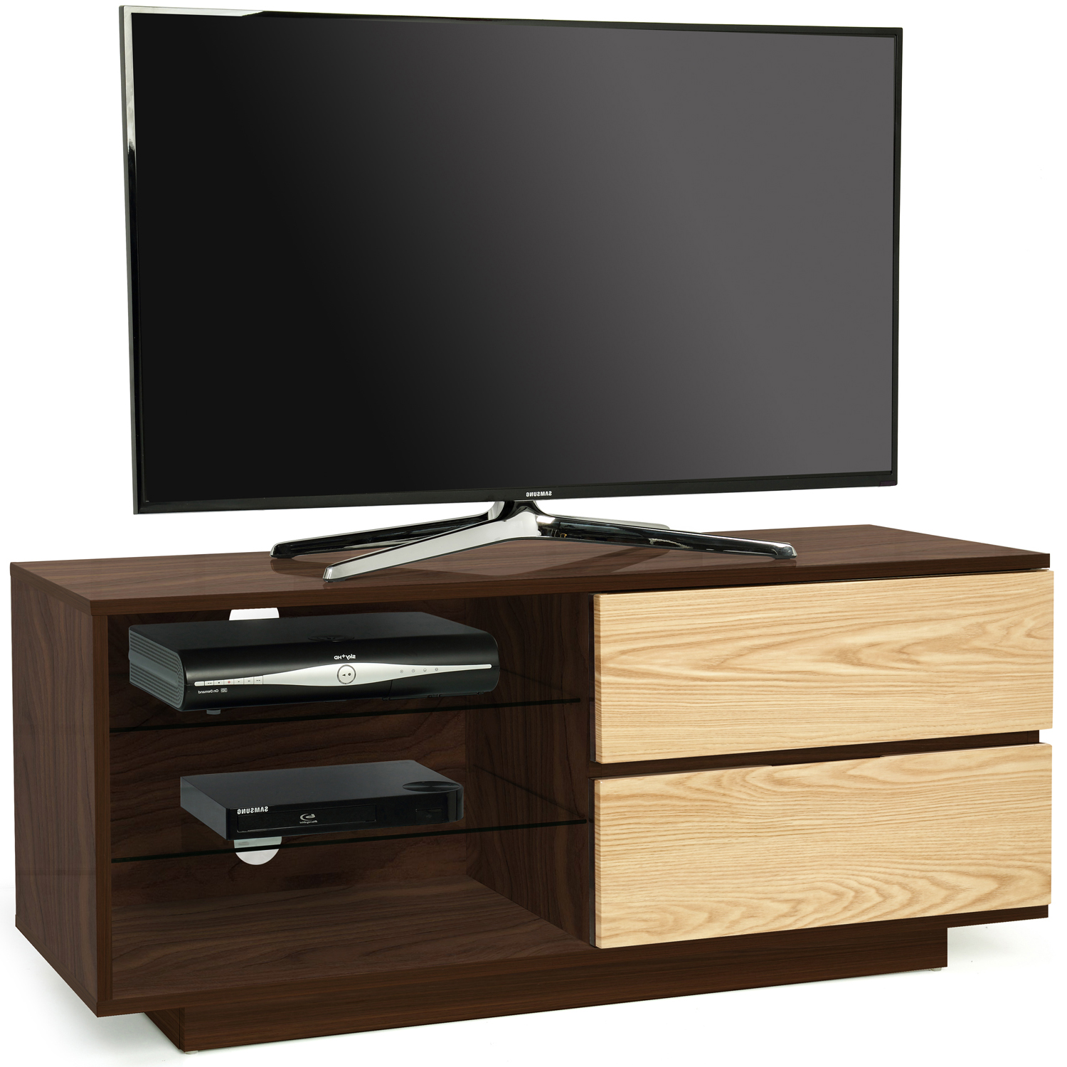 "Centurion Supports Gallus Premium Walnut with 2-Oak Drawers & 3-Shelf 26""-55"" LED/ OLED / LCD TV Cabinet"