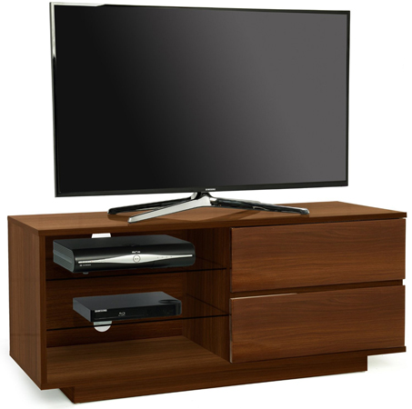 "Centurion Gallus Walnut with 2-Walnut Drawers 26""-55"" TV Stand-As New"