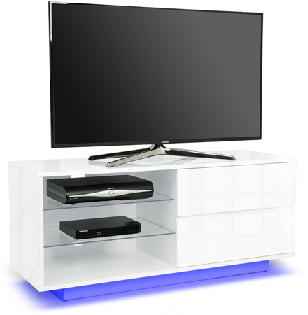 "Centurion Gallus White 2-Drawers 26""-55"" TV Stand LED Lights"