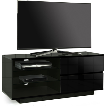 "Centurion Gallus Black 2-Black Drawers 3-Shelf 26""-55"" TV Stand"