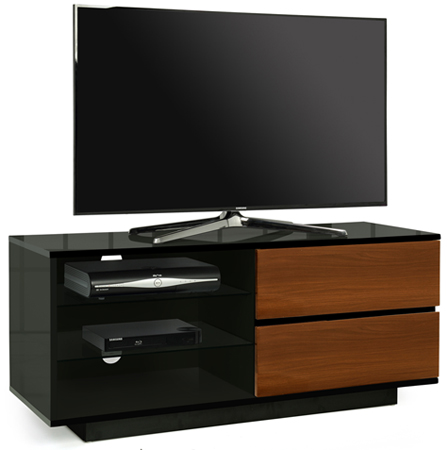 "Centurion Gallus Gloss Black 2-Walnut Drawers 26""-55"" TV Stand"