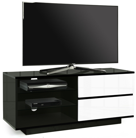 "Centurion Gallus Gloss Black 2-White Drawers 26""-55"" TV Stand"