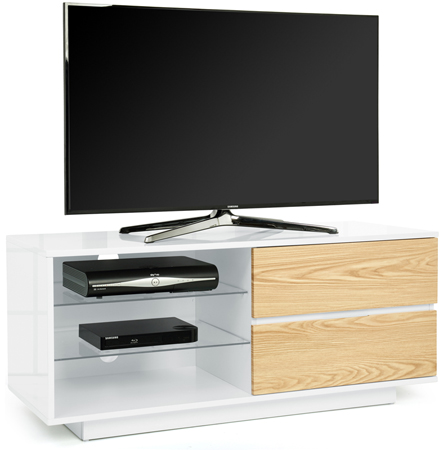 "Centurion Gallus Gloss White 2-Oak Drawers 26""-55"" TV Stand"