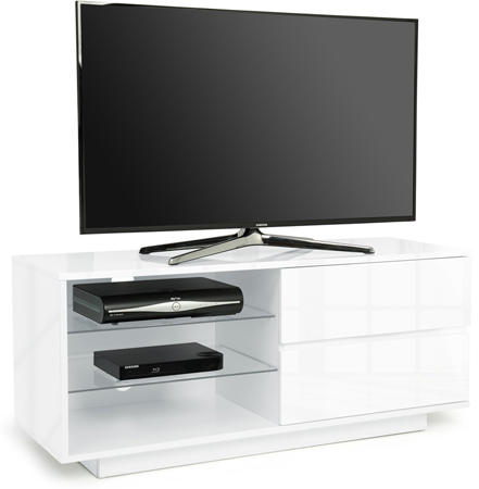 "Centurion Gallus White 2-White Drawers 26""-55"" TV Stand - AS NEW"